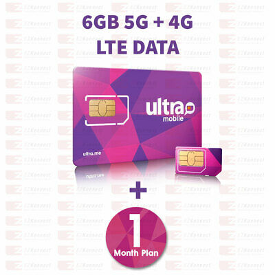 PreLoaded Ultra Mobile SIM Card with 6GB 4G LTE Data1st Month Services included