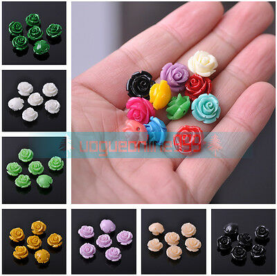 Wholesale 12mm Rose Flower Resin Charms Loose Spacer Beads DIY Craft