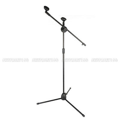 Telescoping Microphone Boom Stand Tripod Stage Studio Arm Holder - Dual Mic Clip