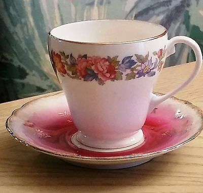 Vintage Grafton English Bone China Floral Cup and Saucer Great Christmas gift