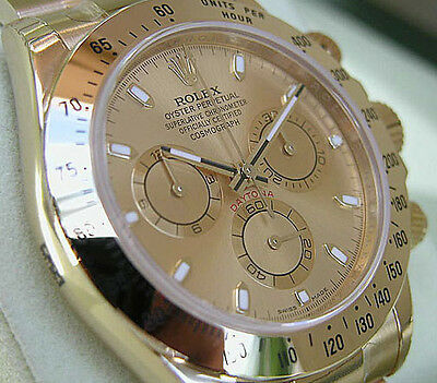 Rolex Daytona 116508 Mens Yellow Gold Champagne Index Dial Watch 40mm