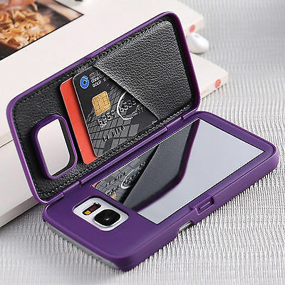 Luxury Makeup Mirror Card Slot Wallet Case Cover For Samsung Galaxy S7 Edge S8-