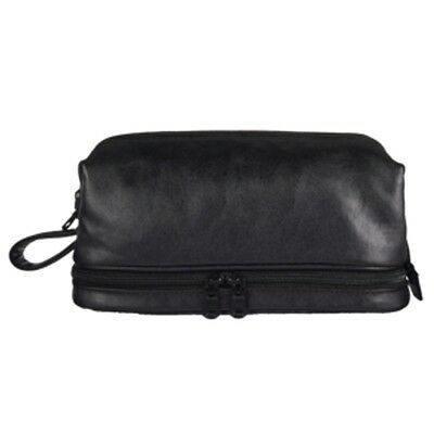 Mens Deluxe Black 2 Compartment Zip Close Leather Toiletry Travel Bag