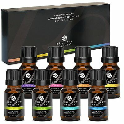 Brilliant Beauty Top 8 Essential Oil Set - 100 Pure Therapeutic - Professional