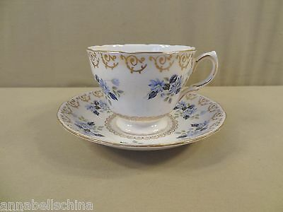 Colclough Pattern 8246 Cup - Saucer Blue Daisies Gold Scrolls Scalloped