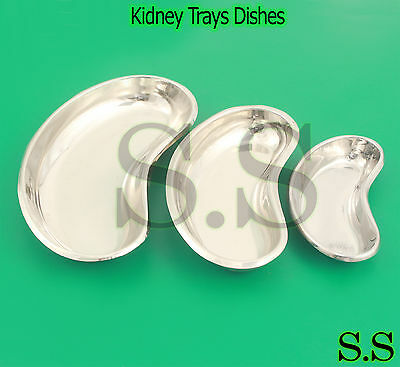 Set of 3 Stainless Steel Kidney Trays Dishes SML New