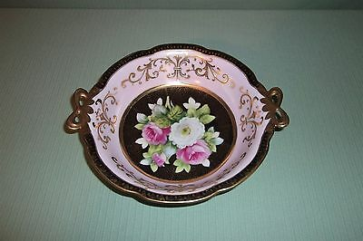 Vintage Noritake Morimura Hand Painted Gold And Pink Floral Bowl 9-14 x 2-14