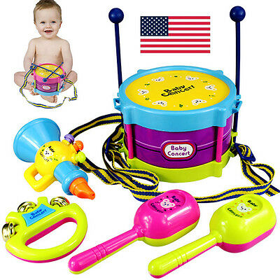 5pcs Kids Baby Roll Drum Musical Instruments Band Kit Children Toy Gift Set Toys