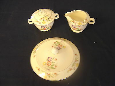 Vintage 1940 Paden City Pottery creamer and sugar bowl with cover Buttercup dish