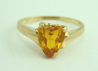 Gorgeous 14K Yellow Gold Heart Cut Citrine Solitaire Band Ring Size 6