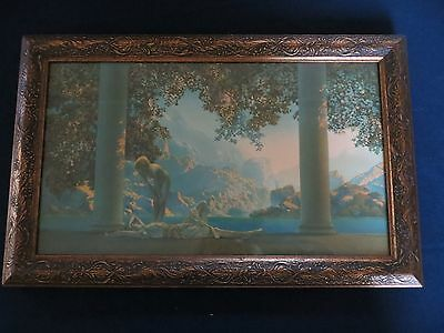 ORIGINAL 1920S  DAYBREAK MAXFIELD PARRISH ART DECO FRAMED PRINT LITHOGRAPH
