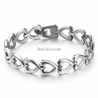 Womens Ladies Silver Stainless Steel Love Heart Link Chain Bangle Bracelet