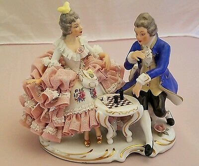 Dresden Lace Couple Playing Chess PRISTINE Condition