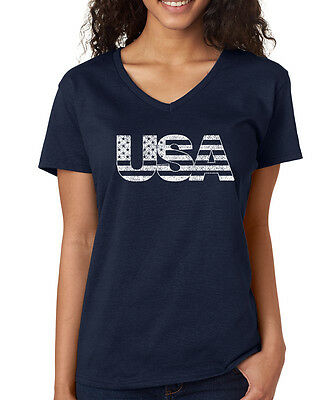 USA American Flag stars stripes 4th of July summer Womens V-neck T-Shirt