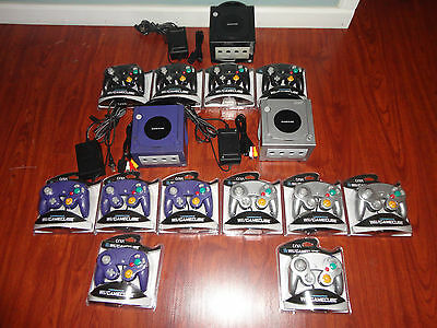 1 Nintendo GameCube Launch Edition Jet Black Console - 4 new controllers cables