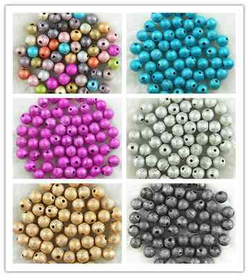 4mm 6mm 8mm 10mm Quality Acrylic Stardust Round Spacer Loose Beads