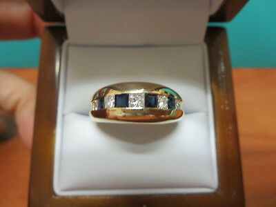 14k Yellow Gold Diamond and Sapphire Mens Engagement Ring