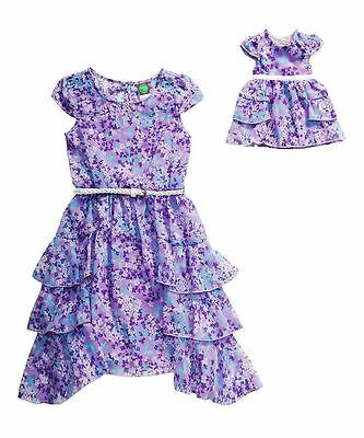 Girl 4-14 and Doll Matching Chiffon Ruffle Easter Dress Outfit American Girl