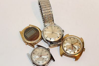 LOT OF 4 - VINTAGE - TIMEX - GOLD TONE - SILVER - BAND - FACE