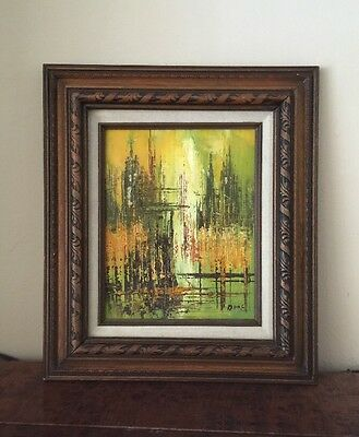 Mid Century Modern Wood Framed Abstract Landscape Oil Canvas Painting Signed