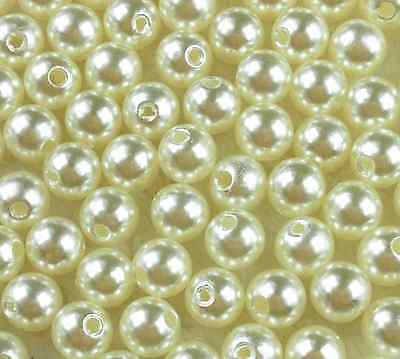 400Pcs 4mm Cream Acrylic Round Pearl Spacer Loose Beads Free Ship