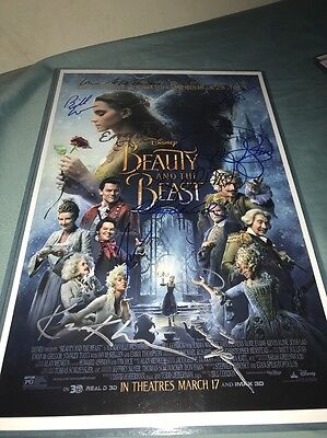 Beauty And The Beast Signed Mini Poster 11x17 12  Autograph Rare In Plastic Case
