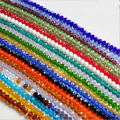 3mm4mm6mm8mm10mm Rondelle Faceted Crystal Glass Spacer Loose Beads DIY Craft