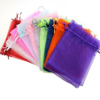 2550100PCS Candy Bags Jewelry Pouches Sheer Organza Wedding Party Favor Gift