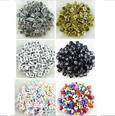 100pcs 6mm Acrylic Mixed Alphabet Letter Coin SquareRound Flat Spacer Beads