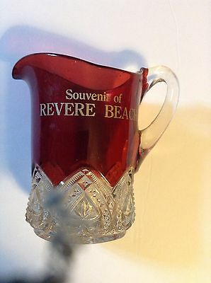 Revere Beach Mass- Ruby EAPG glass pitcher  early 1900s