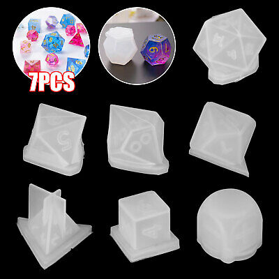 7Pcs DIY Crystal Epoxy Molds Dice Digital Game Silicone Triangle Moulds Set