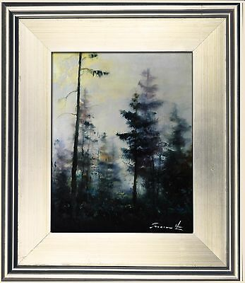 ORIGINAL ABSTRACT LANDSCAPE PAINTING MODERN FRAMED OIL ART SIGNED BY THERIAULT