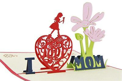 Mothers Day Gift 3D Greeting Card I Love Mom Pop Up Birthday Thank You Card