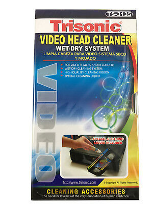 VCR Head Cleaner Video VHS Cassette Wet and Dry System Trisonic TS-3135
