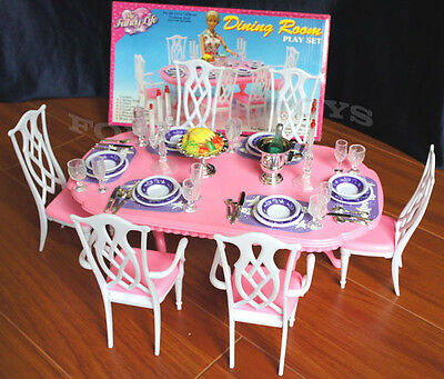 GLORIA DOLLHOUSE FURNITURE 6 CHAIRS DINING ROOM W Spoons PLAYSET FOR BARBIE