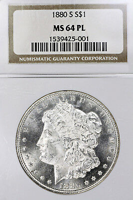 1880-S MS64 PL Morgan Silver Dollar 1 graded by NGC as Prooflike