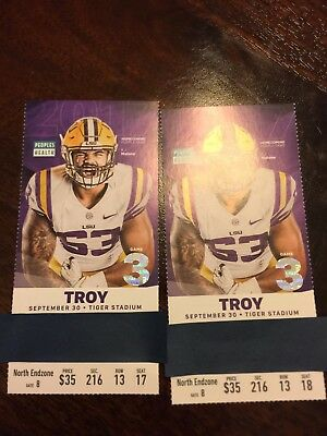 LSU Tigers vs Troy Trojans Section 216 Row 13 Seats 17 and 18 September 30th