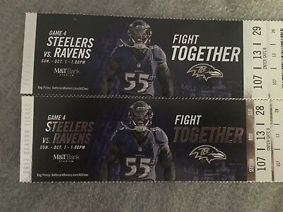 Baltimore Ravens vs Steelers tickets 10117 LL