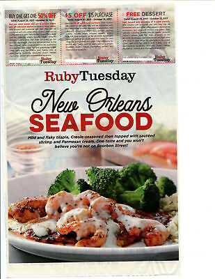 ❤RUBY TUESDAY Restaurant Coupons B1G1 50Off 5 Off 0 Dessert 101317 GET FAST