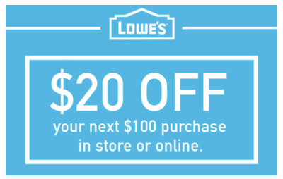 THREE Lowes 20 OFF 100 INSTANTCoupons ONLINE or INSTORE - FAST 3-Min Delivery