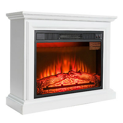 32 Electric Fireplace White Wood Mantel Heater Firebox w Red 3D Flame Logs