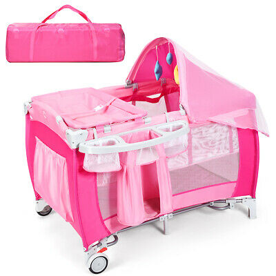 Foldable Baby Crib Playpen Travel Infant Bassinet Bed Mosquito Net Music w Bag
