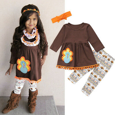 Thanksgiving Fringe Kids Baby Girl Outfits Clothes Dress Tops-Pants Outfit Set
