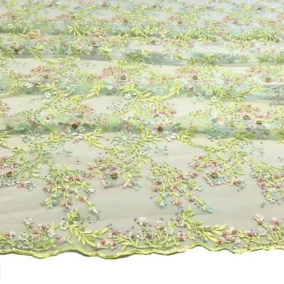 Floral Ariya Lace Sequins Embroidered Beaded Scallop Fabric 4849'' BTY Seafoam