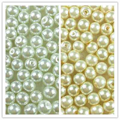 4mm6mm8mm10mm White IvoryCream Glass Pearl Spacer Loose Beads DIY Jewelry