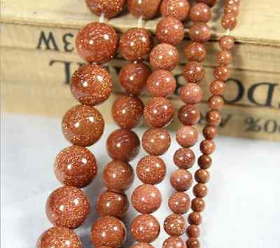 Natural Gold Sand Gemstone Round Ball Spacer Beads 15'' 4mm 6mm 8mm 10mm 12mm