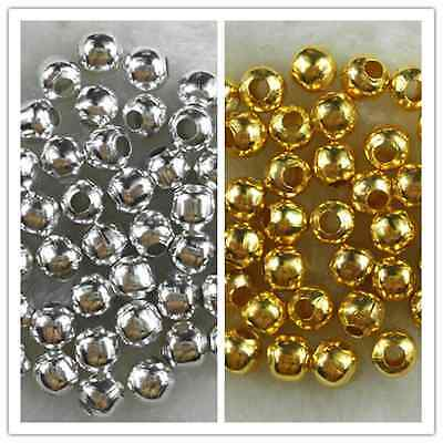 GoldSilver Plated Metal Charm Findings Spacer Loose Beads 3mm 4mm 5mm 6mm