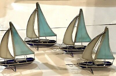 4-Piece Set Stained Glass 6 inch Sailboats Sun Catchers  9023-O