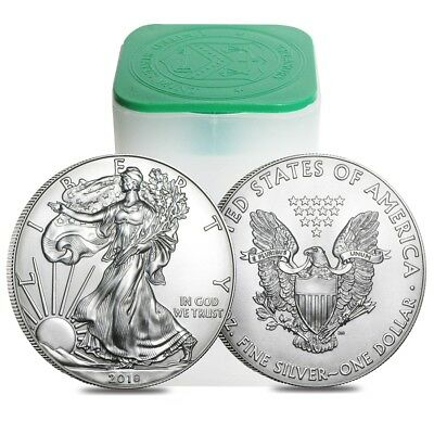 Roll of 20 - 2018 1 oz Silver American Eagle 1 Coin BU Lot Tube of 20