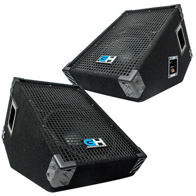 Grindhouse Pair of 10 Inch Passive Wedge Monitors - Floor Stage 600 Watts RMS